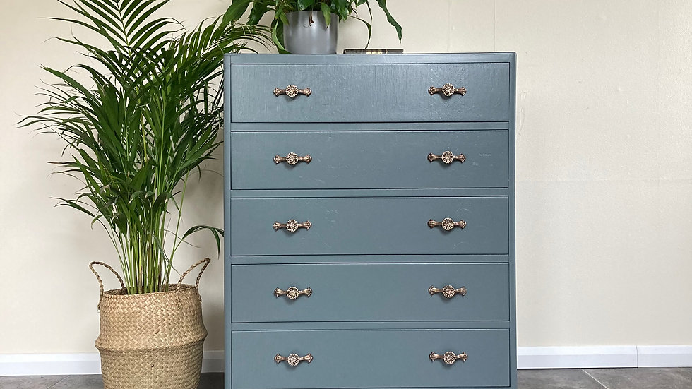 Vintage Upcycled CC41 Chest of Drawers in Farrow and Ball Down Pipe - Bedroom St