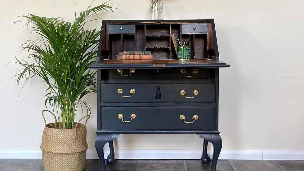Vintage Painted Bureau / Writing Desk / Secretaire on Cabriole Legs