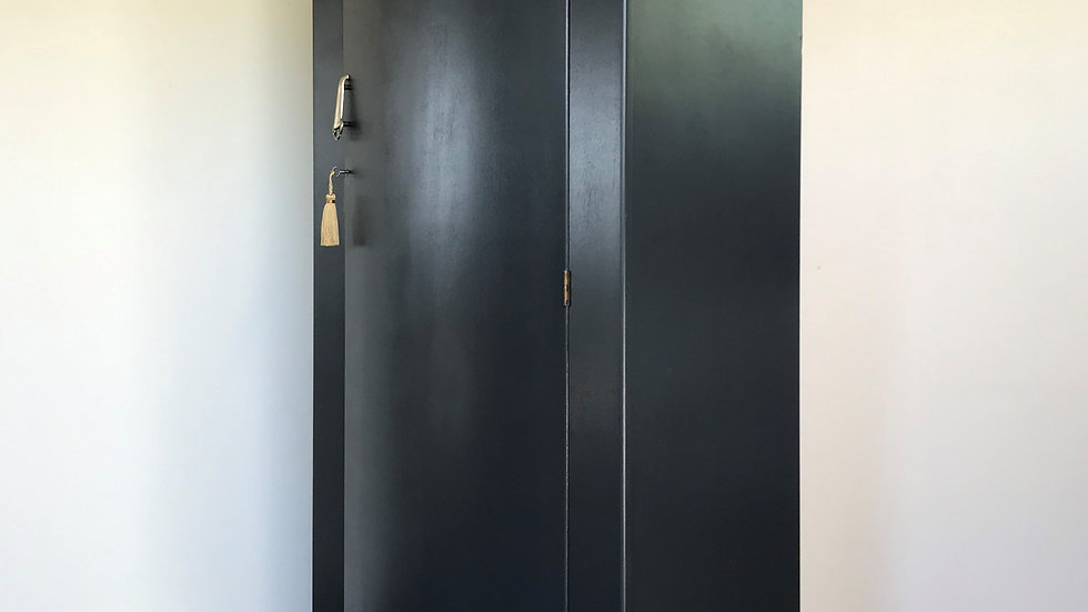 Painted Vintage 1960's Lebus Armoire/Wardrobe in Farrow and Ball Off Black