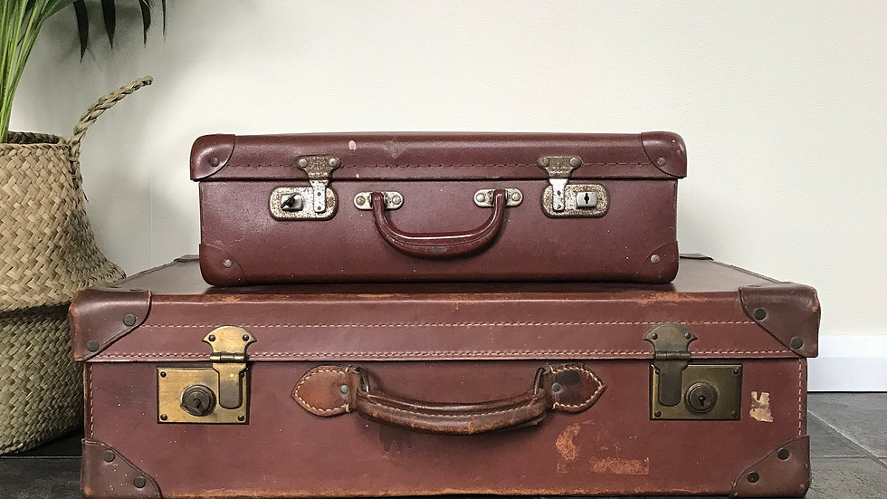 Two Antique Vintage Shabby Chic Suitcases / Luggage / Travel Trunks/Shop Display