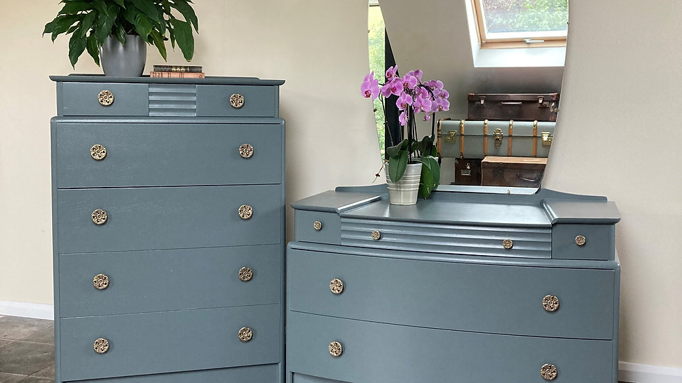 Art Deco Bedroom Set by Stag in Farrow & Ball Down Pipe