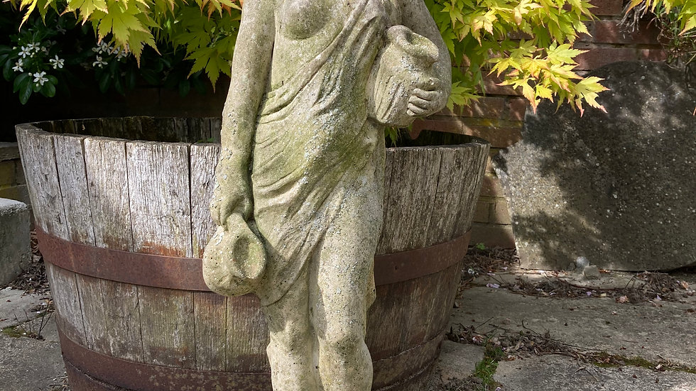 Antique Weathered Stone Garden Statue Goddess With Water Carriers Semi Nude