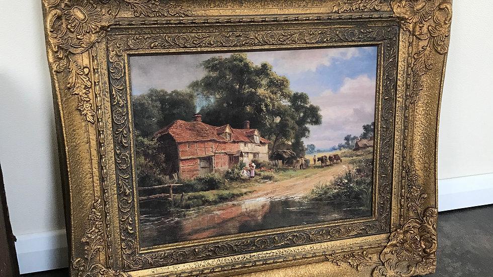 """Antique Vintage Gilt Framed Print by Robert Gallon entitled """"Old Surrey Farm"""""""