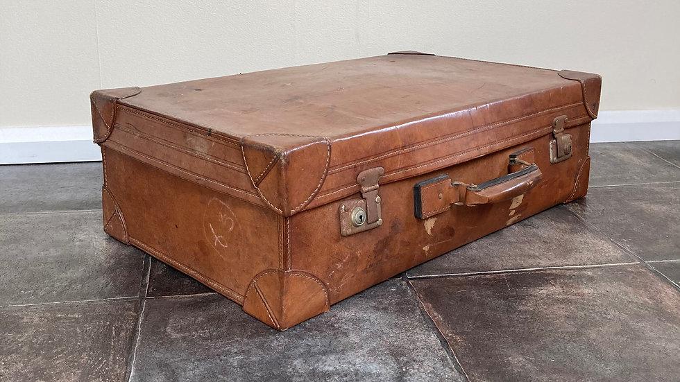Antique Leather Suitcase / Travel Shop Display / Wedding Suitcase