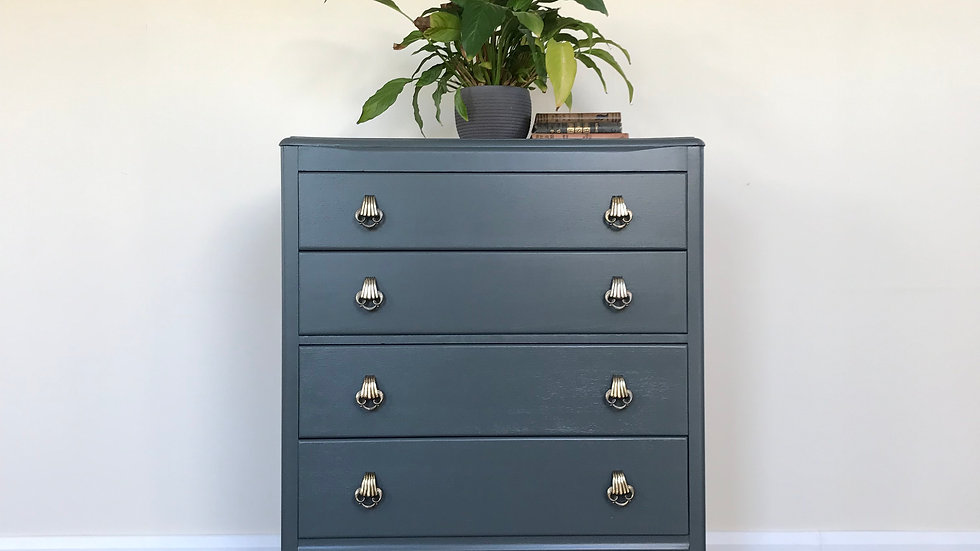 Vintage Mid Century Upcycled Lebus Chest of Drawers in Farrow & Ball Downpipe