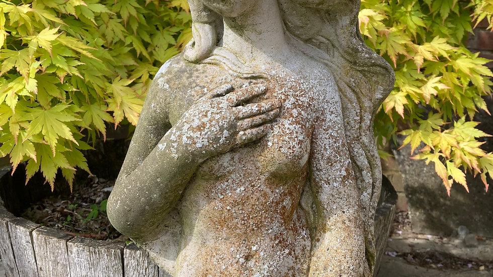Antique Weathered Stone Garden Statue Birth Of Venus / Aphrodite Nude