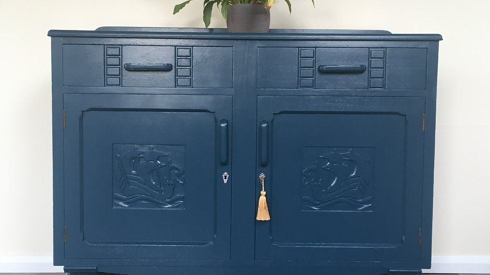 Antique Victorian Painted Carved Sideboard in Farrow and Ball Hague Blue