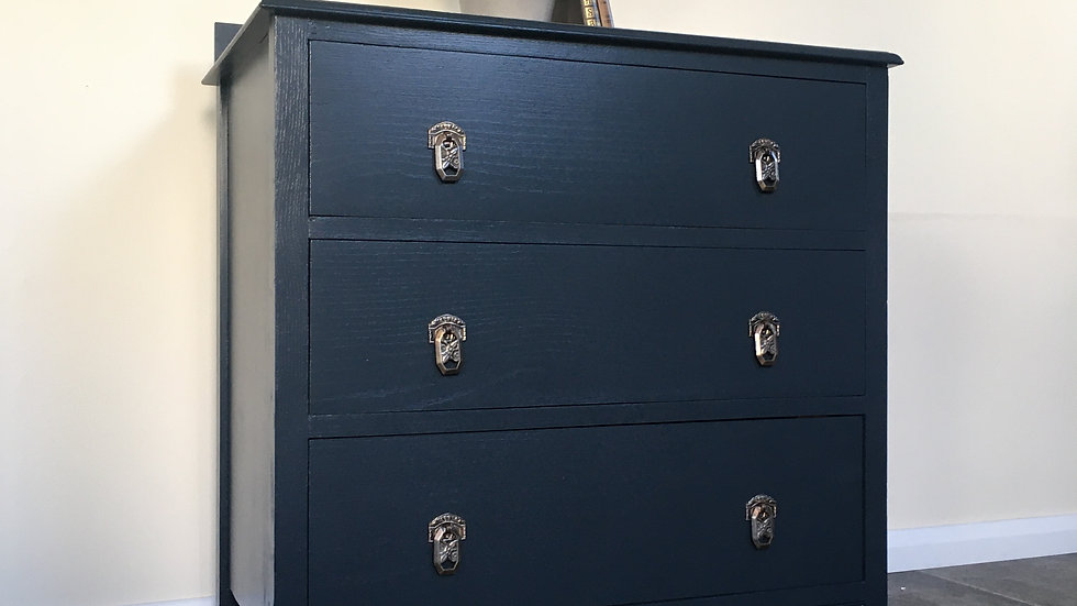 Vintage Painted 1930's Upcycled Chest of Drawers in Farrow and Ball Railings