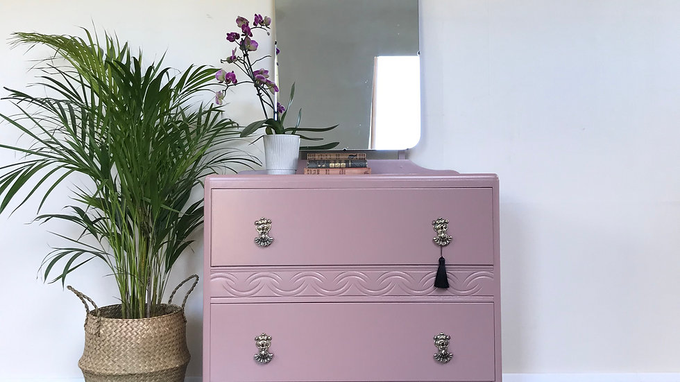 Mid Century Upcycled Pink Chest of Drawers in Farrow and Ball Sulking Room Pink