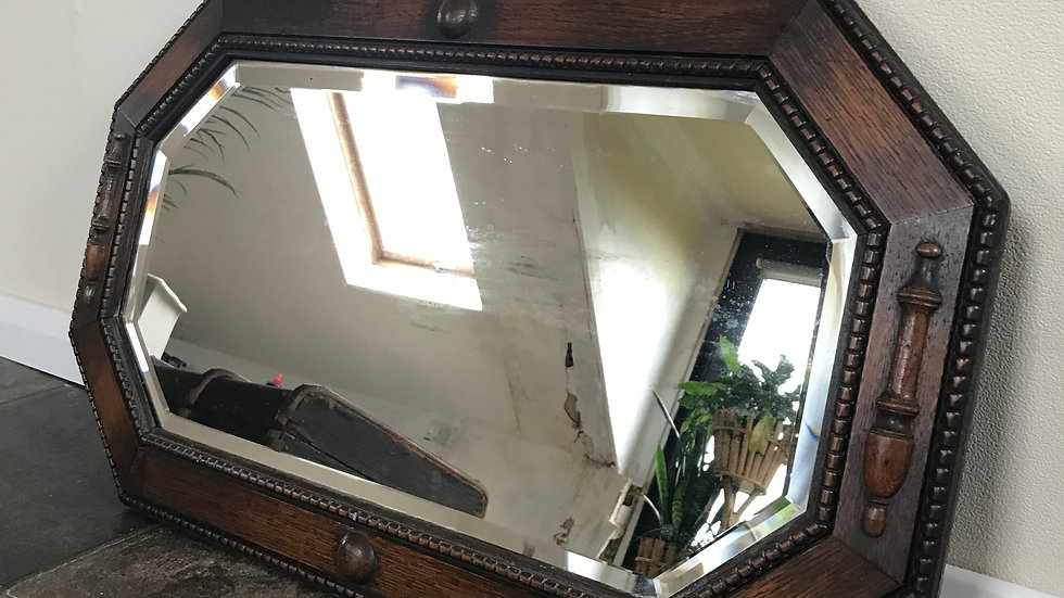 Antique Arts and Crafts Oak Framed Ornate Wall Mirror