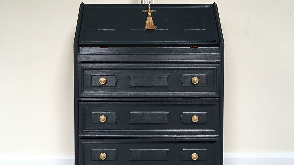 Stunning Black Painted Vintage Writing Bureau /Desk in Farrow and Ball Off Black