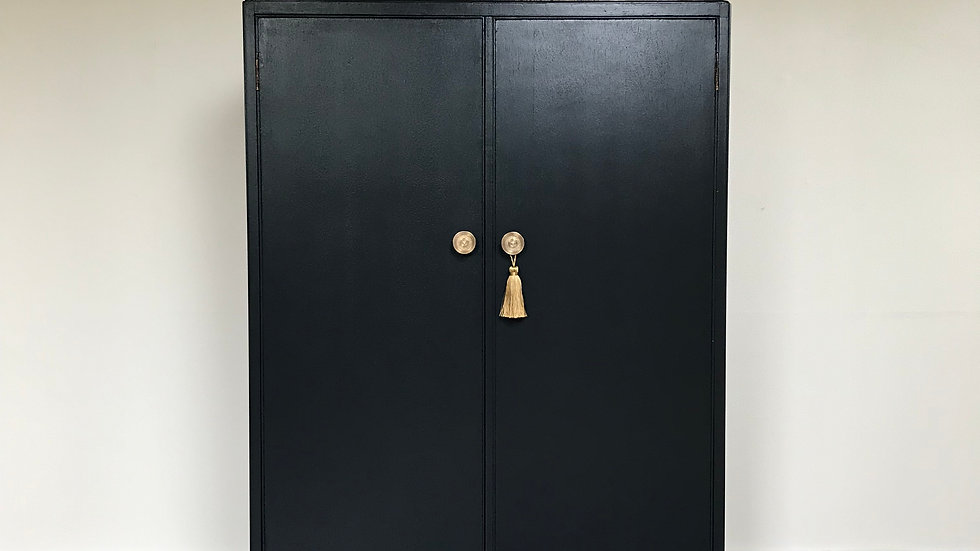 Painted Vintage Gentleman's Armoire / Wardrobe in Farrow & Ball Off Black