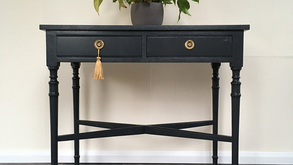 Vintage Regency Style Painted Console Table in Farrow and Ball Off Black