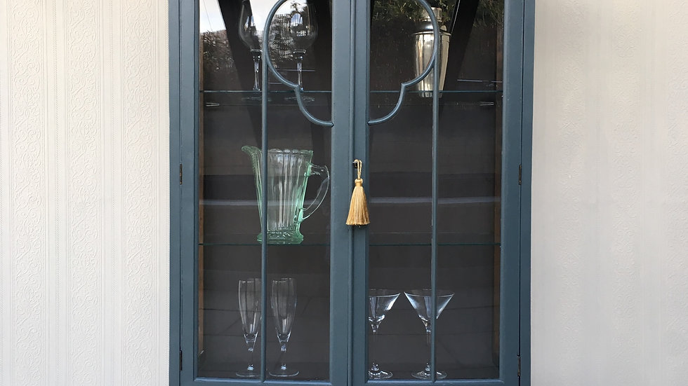 Stunning Hand Painted Grey Antique Gin Cabinet/ Display Cabinet