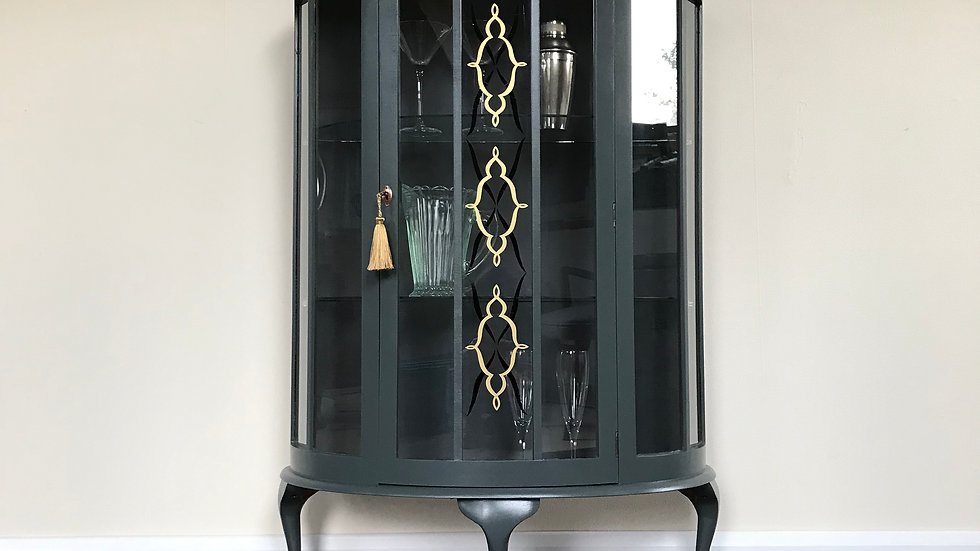 Elegant Hand Painted Vintage Demi Lune Glass Gin Cabinet / Display Cabinet