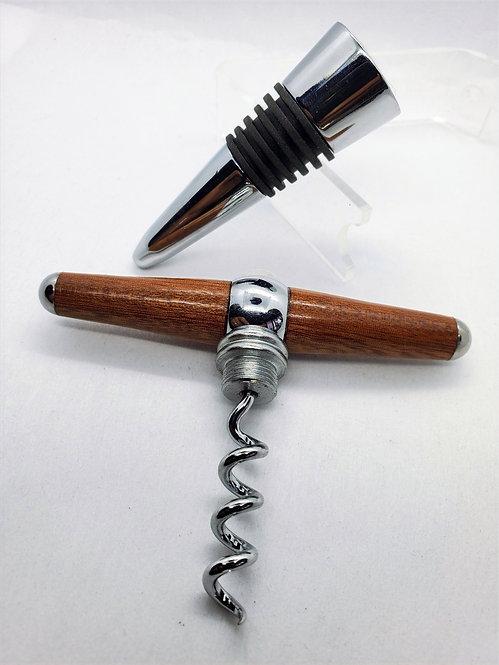 Cork Screw & Bottle Stop - Walnut