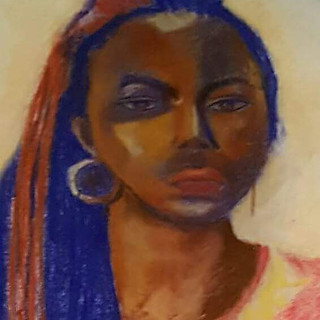 Portrait of a Woman with Blue Streaks