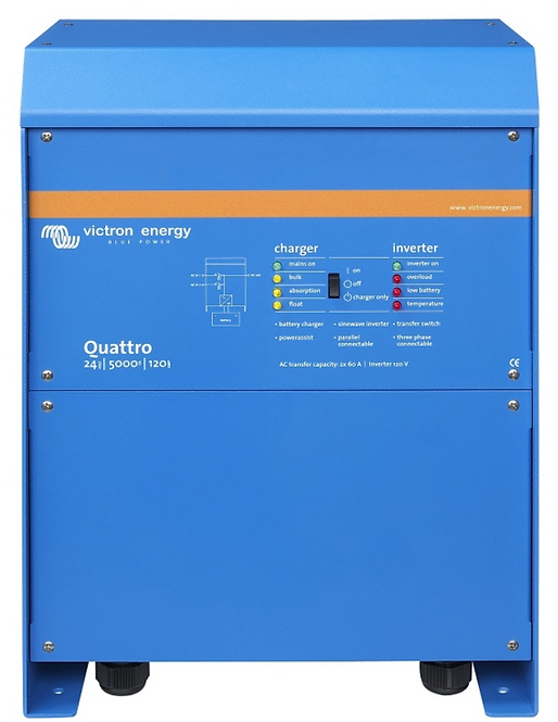 Victron Energy QUA125021100 Quattro 12/5000/220 Inverter Charger 120 Volt AC, 12
