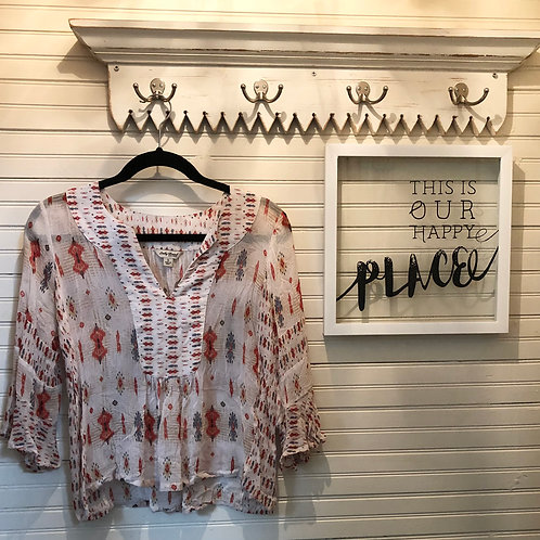 Lucky Brand: Sheer Cream & Red Cropped Top
