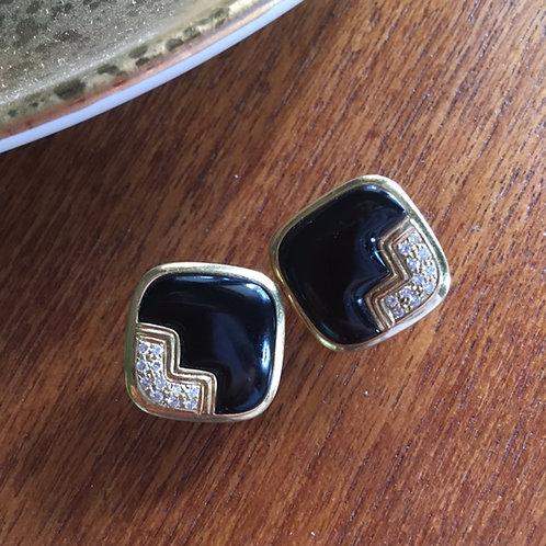 Art Deco Onyx + Gold Earrings