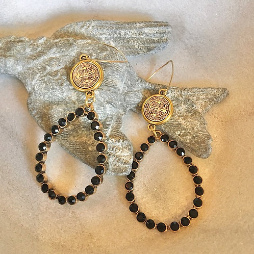 Michael Gabriel: Black Rhinestone Earrings