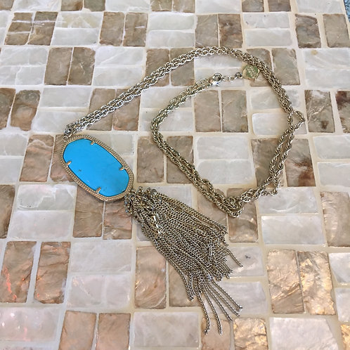 Kendra Scott Turquoise Blue Stone Pendant Necklace