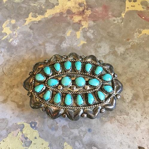 Vintage Turquoise Cluster Belt Buckle