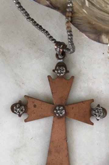 Copper Cross on Beaded Chain