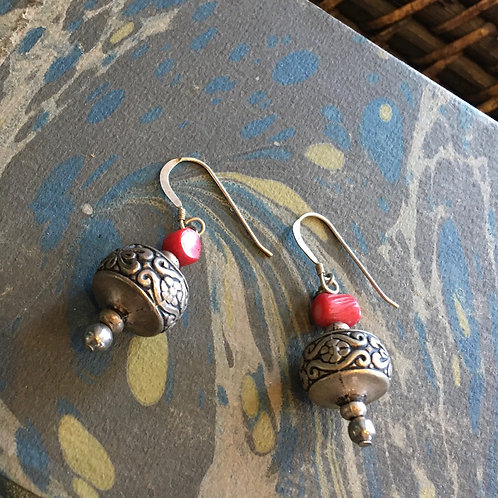 Sterling Beads & Coral Earrings
