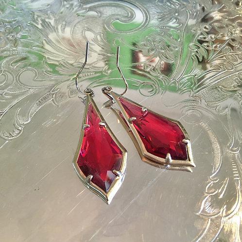 Kendra Scott Cranberry Crystal Earrings