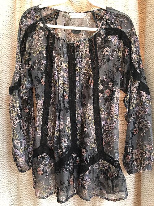 LoveAndLiberty Sheer+Floral Long Sleeve Blouse