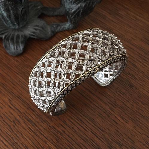 Andre'a Candela Sterling Silver +18k Gold+Diamond Cuff