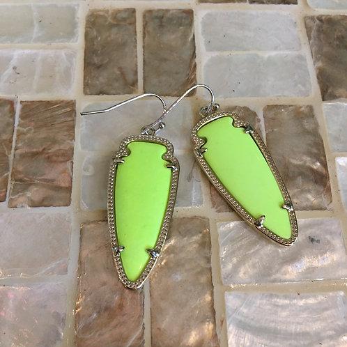 Kendra Scott Neon Yellow Arrowhead Earrings
