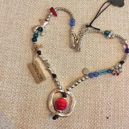 Uno de 50 Glass+Silver Beaded Necklace