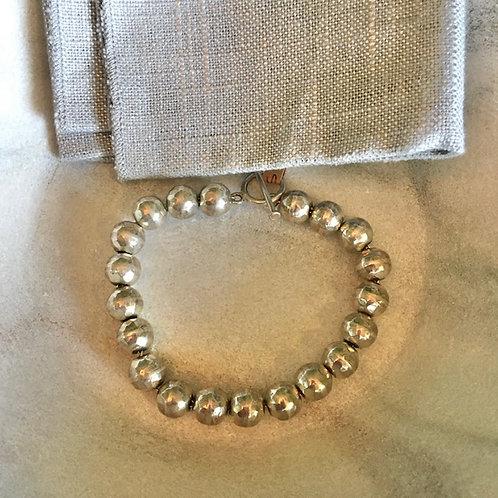 Silver Hammered Bead Bracelet