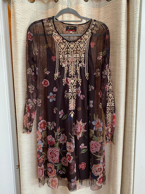Johnny Was Brown+Floral Mesh Dress