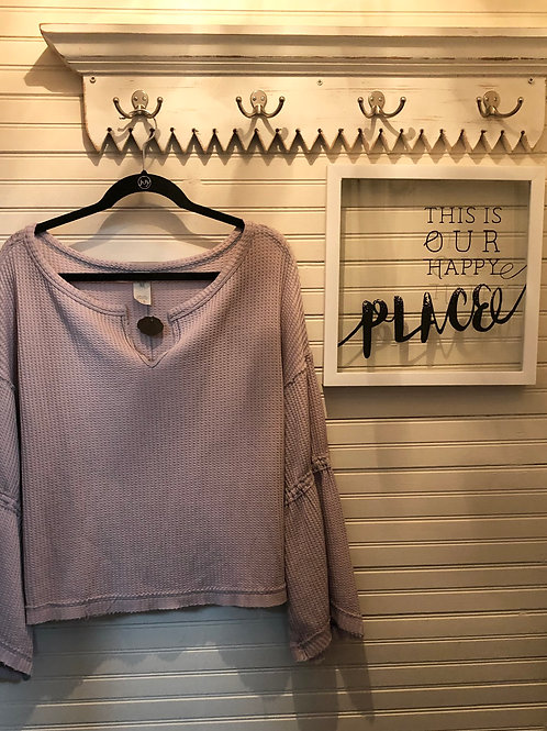 Free People:Purple Cotton Blend Thermal Top