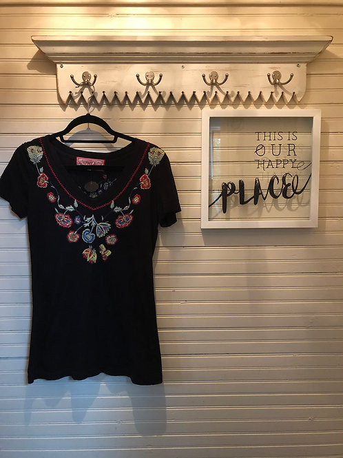 Johnny Was: Black + Embroidered Top