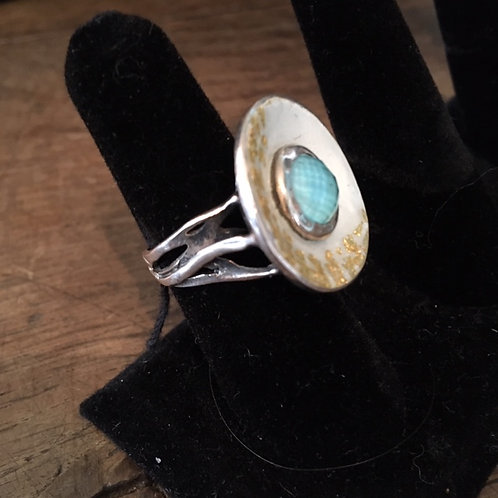 Custom Greek Enamel & Stone ring