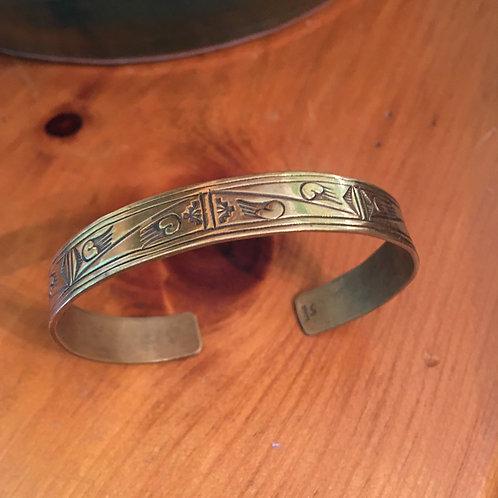 Brass stamped Navajo bracelet