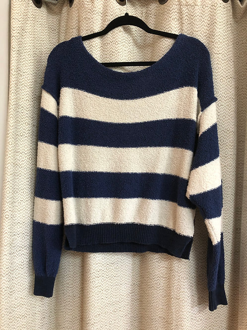 Free People Navy Blue + Cream Striped Top