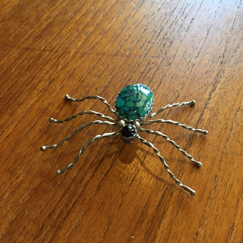 Turquoise + Onyx Spider Pin