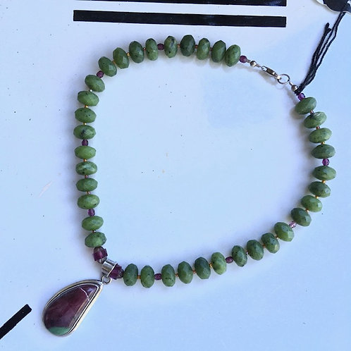 Faceted bead +stone pendant necklace by Anasara of Kerrville