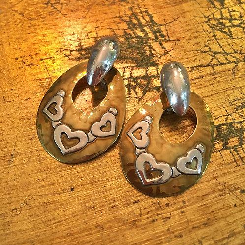 Jeep Collins Brass+Silver Vintage Heart Earrings