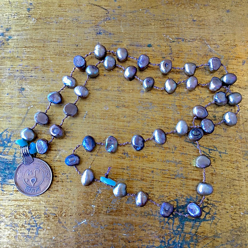 Freshwater Pearl+Beads+Coin Charm Necklace