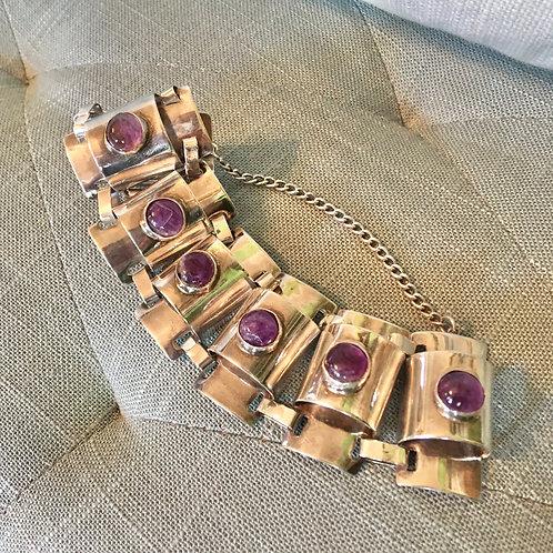 Vintage Mexican Amethyst Link Bracelet