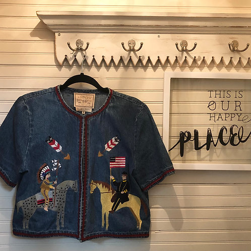 Double B Ranch Wear: Embroidered Blue Jean Top