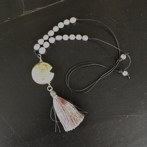 Shell + Pearls + Tassel Adjustable Necklace