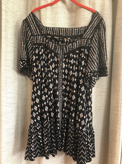 Free People Black Pattern Cotton Tunic Dress