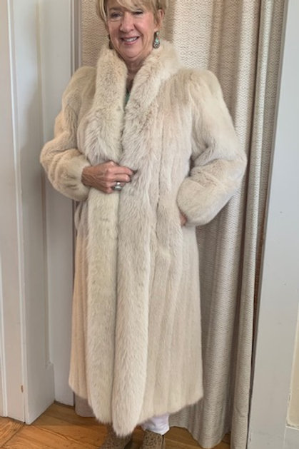Cream Full Length Mink + Fox Shawl Collar